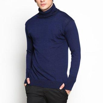 VM Sweater Rajut Polos panjang Krah Tinggi Navy Blue