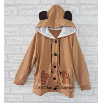 Vrichel Collection Jaket Anak Perempuan Hoodie Fancy (Cokelat)