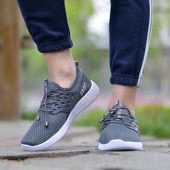 Waktu terbatas penawaran *** Berlari Sneakers Pria Zapatillas Deportivas Hombre gratis Run untuk Mens pelatih olahraga Jogging Homme ringan nyaman sepatu (Abu-abu) - 2