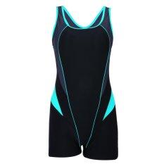 Wanita 's One Piece Swimsuit Boyleg Atletik Swimwear Tankini (Hitam Hijau)-Intl