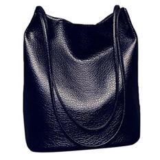 Wanita kasual pegangan panjang bahu belanja pu kulit mati bucket bag tas tangan untuk liburan belanja perjalanan Hitam