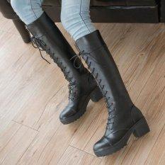 Wanita Kulit Vintage Platform Renda Blok Tumit Sepatu Bot Tinggi Lutut Kuda Ukuran Hitam - Internasional