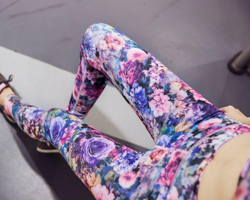 Wanita Motif Bunga Celana Yoga Kebugaran Olahraga Lari LeggingPinggang Tinggi Peregangan Spandeks Ketat .