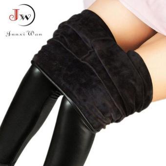 harga Wanita ukuran lebih Fashion kulit imitasi Legging Boots musim dingin hangat kaki tebal tipis Leggins Super elastis celana hitam - International Lazada.co.id