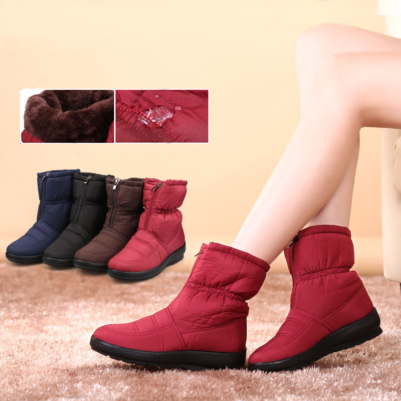 Wanita yang berkualitas tinggi sepatu bot salju musim dingin hangat mewah Waterproof sepatu .