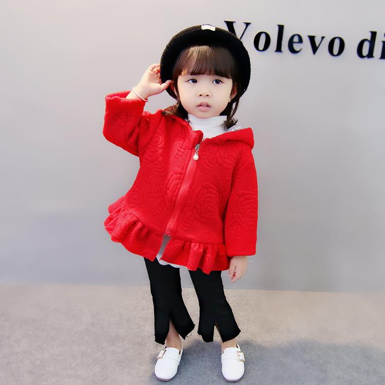 Warna solid di musim semi dan musim gugur anak berkerudung ritsleting jaket anak perempuan jaket (