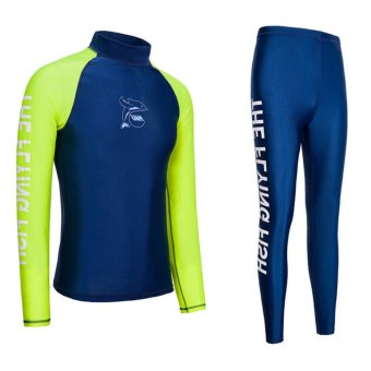 harga Wetsuit Men For Surfing Two Piece Scuba Diving Long Sleeve SunProtection-Fluorescent Green - intl Lazada.co.id