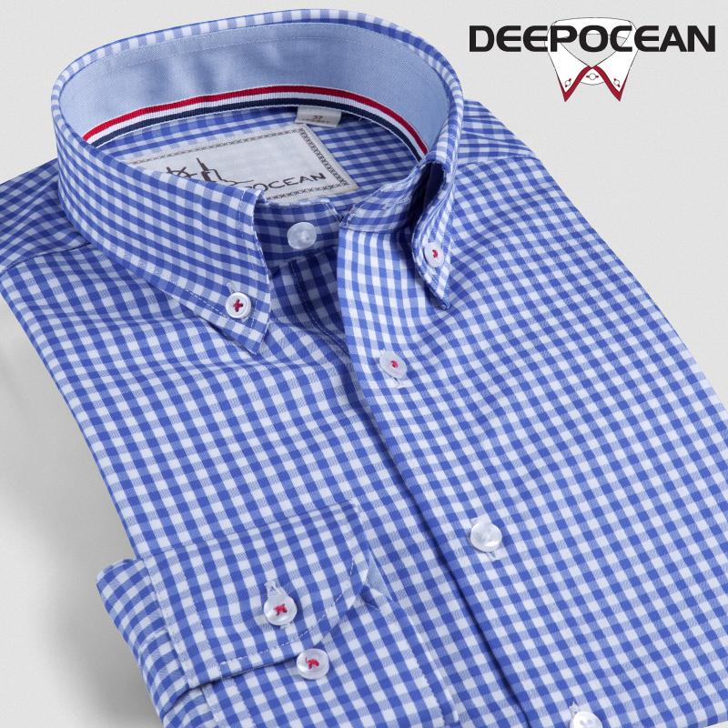 Windsor Inggris katun kata pria baju kemeja lengan panjang kemeja kotak-kotak (Biru kerah