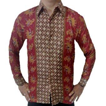 WiShop Baju Kemeja Batik Pria Modern Lengan Panjang  Lazada Indonesia