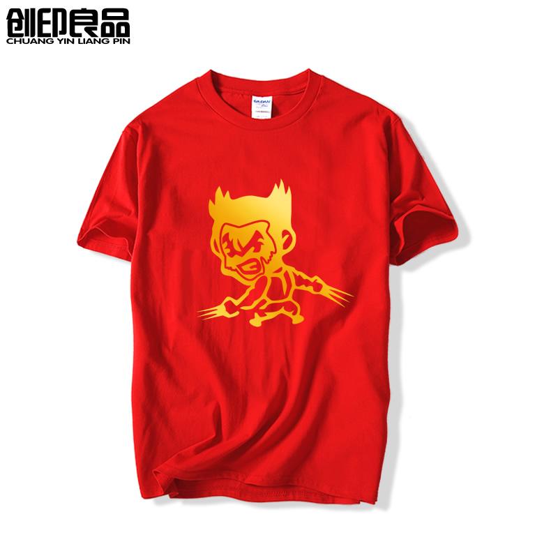 Flash Sale Wolverine Film Zhou Bian lengan pendek t-shirt (Merah bronzing)