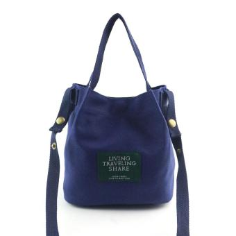 Women Fashion Canvas Travel Shoulder Bag Large Tote Ladies PurseDark Blue - intl ...