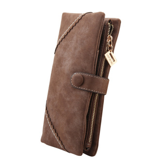 Women Fashion Leather Long Wallet With Button Clutch Purse Brown