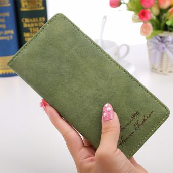 Women Long Wallet Card Holder Purse Matte Leather Wallets(Green) -intl