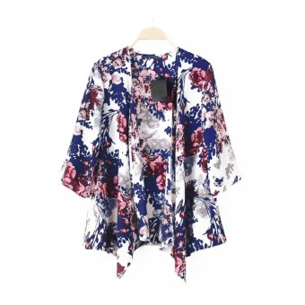 Women Outerwear Open Front Floral Print Batwing 3/4 Sleeve Irregular Loose Cardigan Coat Blue