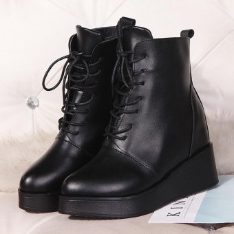 Women Sexy Platform Boots Fashion Punk Square Ankle Boots Black For Women Shoes - intl - 5