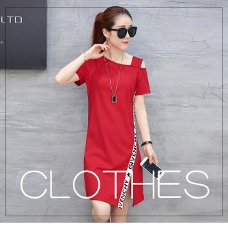 Women summer Dress with a missing shoulder New fashion casualsports in the long package of buttocks Elastic skirt(S size red) -intl
