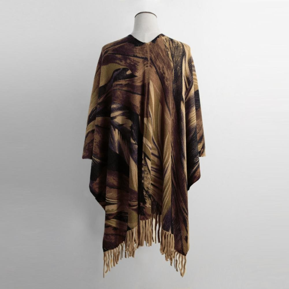 Women Winter Poncho Cape Top Tassel Fringed Cardigan Print Sweater Scarf Coat Khaki .