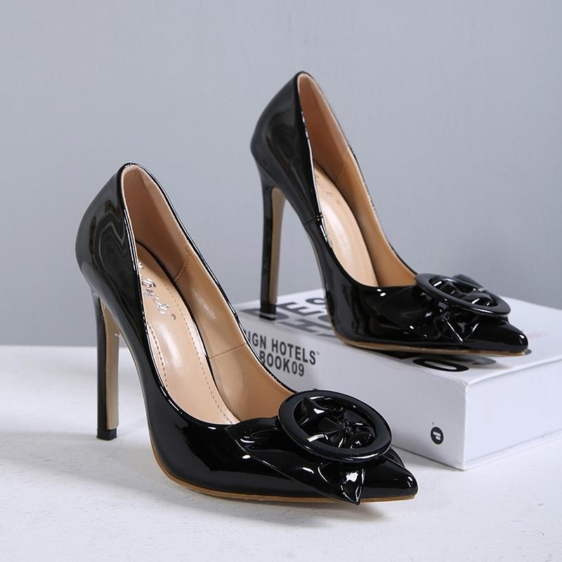 Women's Pointed Toe Stiletto Pumps Fashion Party High Heels with Buckle Black -