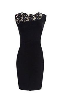 harga Womens Sexy Lace Front Sleeveless Bodycon Mini Party Wedding Dress (Black) Lazada.co.id
