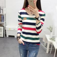 ... Model Longgar Source · Xianyuansu Kaos Wanita Trendi Lengan Panjang Motif Salur Warna Biru Hijau Biru Merah 197