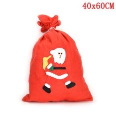 Xmas Bag Tas Kado Natal Besar Tas Promosi Santa Claus Tas Serut 40*60 Cm-Intl
