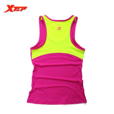 XTEP Menjalankan Kebugaran Sleeveless Rompi Musim Panas Gaya Yoga Shirt TOP Cepat Kering Wanita Wanita Gym Sport Shirt (rose)