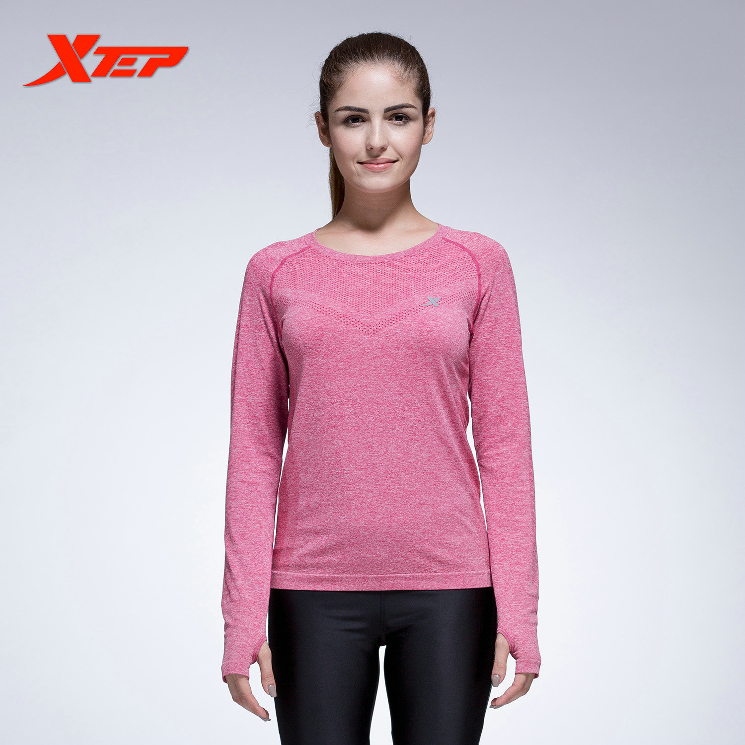 ... XTEP Women's Long Sleeve Running Shirts Tops Compression Tights Yoga Shirts Sportswear Fitness Workout Quick Dry ...