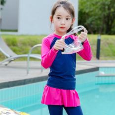 XuANHAI Korea Fashion Style baru anak-anak baju renang anak perempuan baju renang (Biru