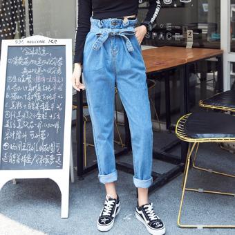 Celana Paha Longgar Jeans Wanita Sepersembilan Versi Korea Biru