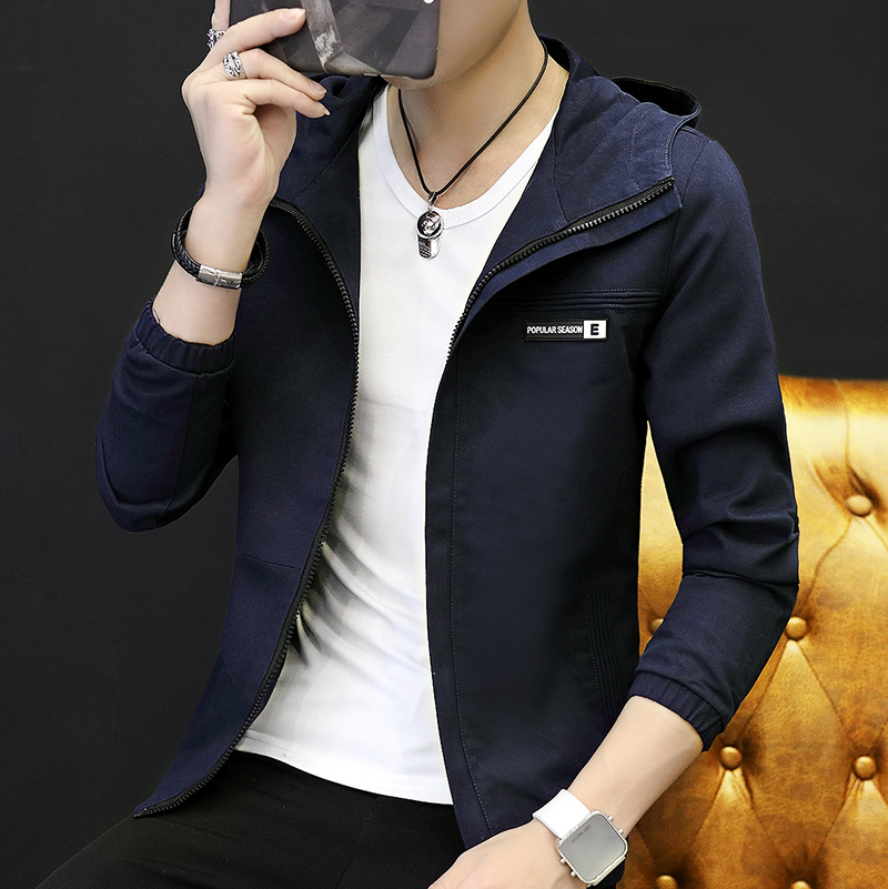 Yi Hyun legenda pria Korea Slim olahraga lengan panjang jaket jaket kasual (EK8818 biru tua