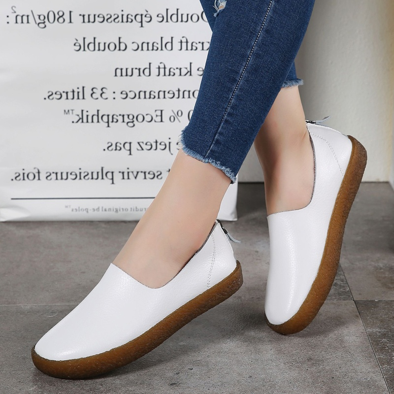 ... YiLee Women's Fashion Flat Non-slip Leather Lazy Shoes(white) - intl ...