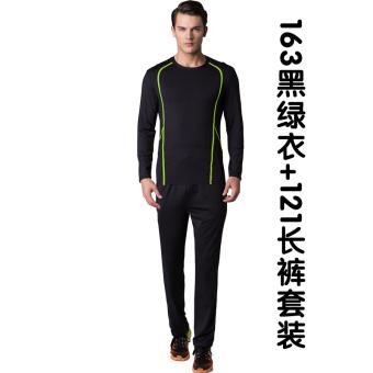 Yitalu laki-laki kebugaran pakaian joging gym cepat kering pakaian (163/121 hitam dan hijau pakaian + celana panjang)