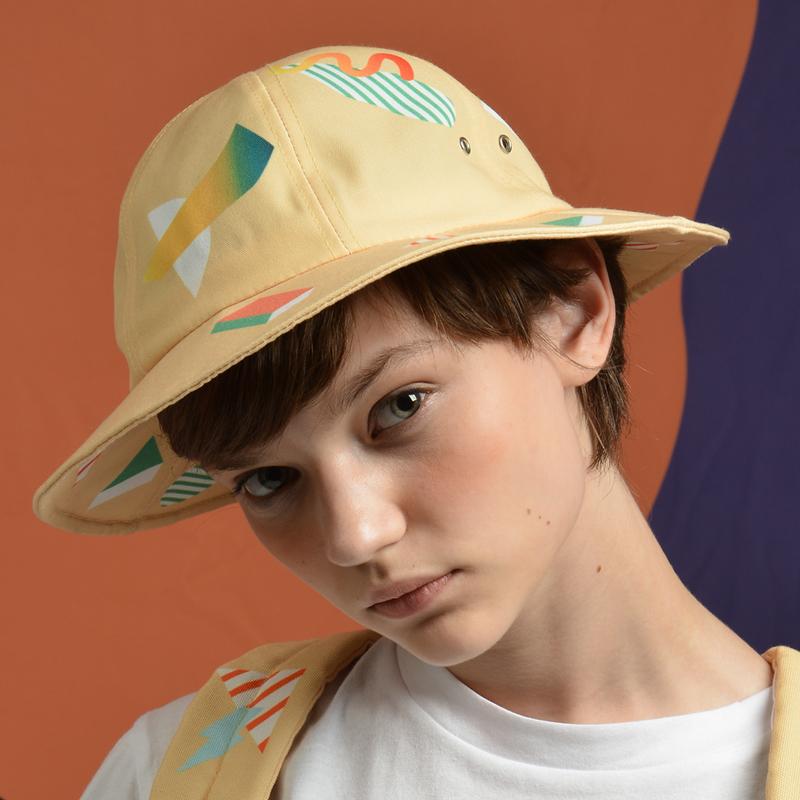 Yizi warna asli kanvas cetak nelayan topi (Geometris nelayan topi-kuning)