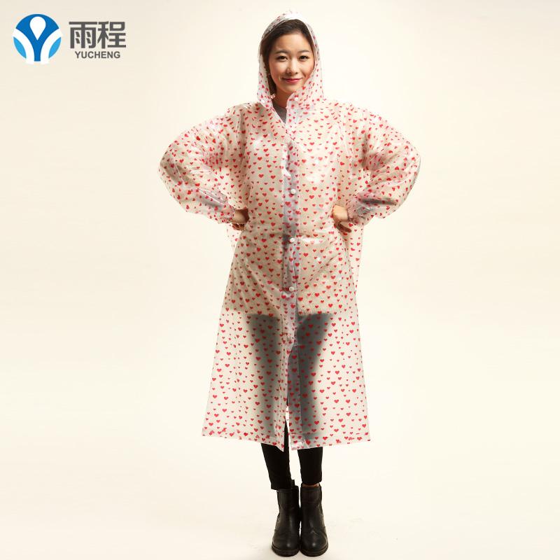 Yucheng luar ruangan berjalan berjalan tunggal jas hujan (Panjang jas hujan hati merah)