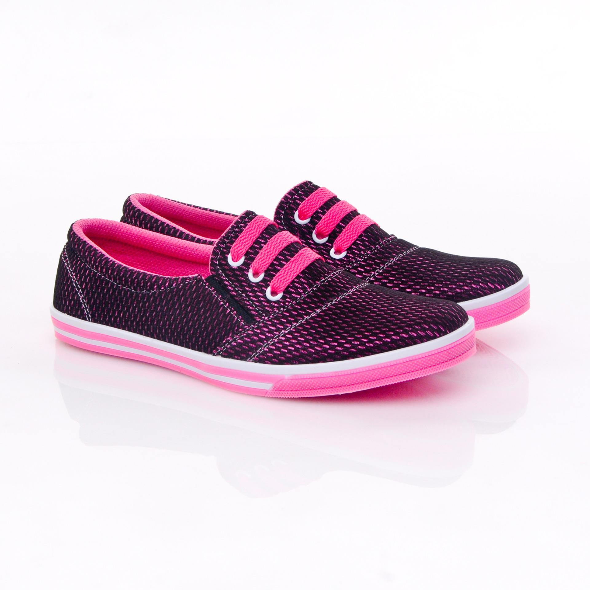 ... Yutaka Sepatu Kets Sneakers Hitam-Pink ...