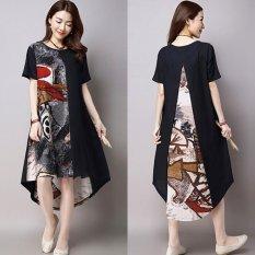 Zanzea Kasual Wanita Pendek Lengan O Leher Serut Maxi Hem Asimetris Source · ZANZEA Barang Baru Wanita Fashion Musim Panas Pakaian Print Dress Casual Loose ...