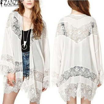 ZANZEA Ladies Bohemian Chiffon Kimono Lace Crochet Flower Long Loose Cardigan (White) - intl