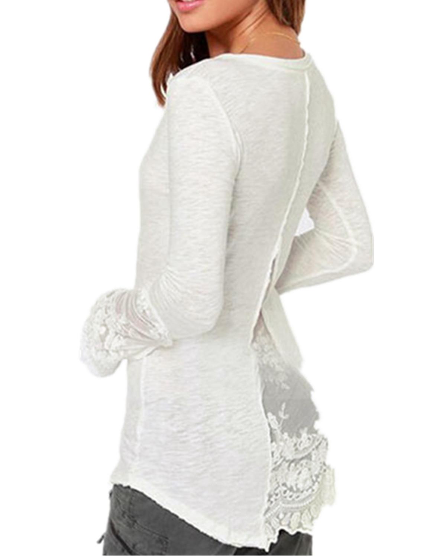 ... Zanzea Renda Kancing Baju Longgar (Putih) ...