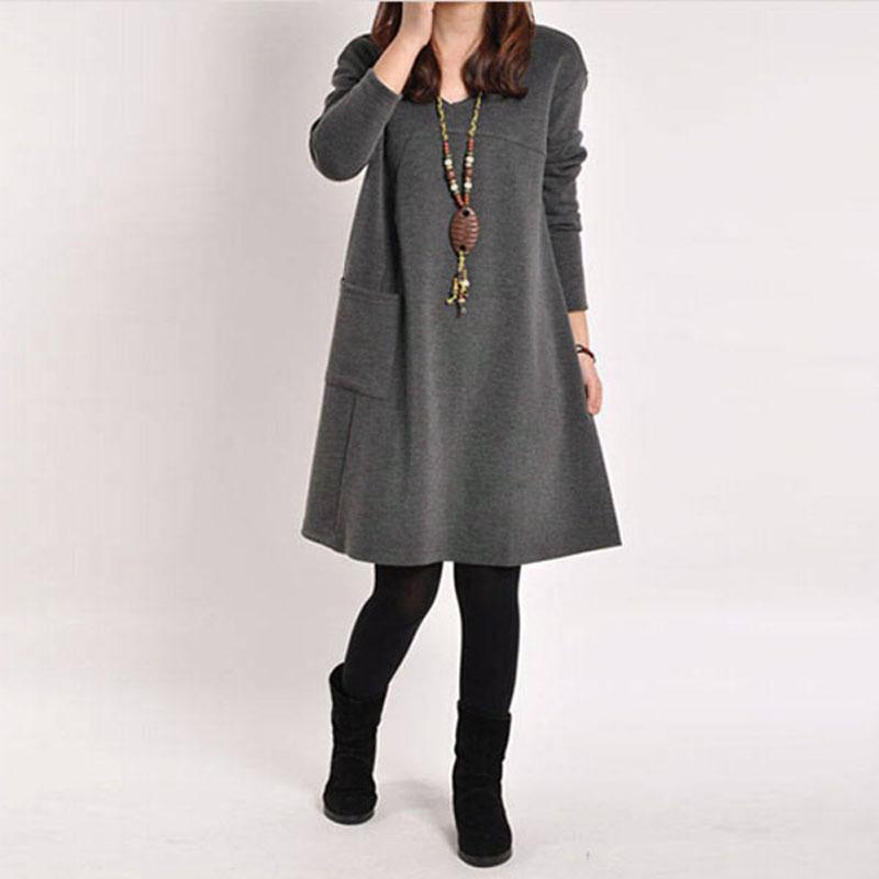 ZANZEA wanita lengan baju panjang saku V-leher puncak santai Mini Hamil .