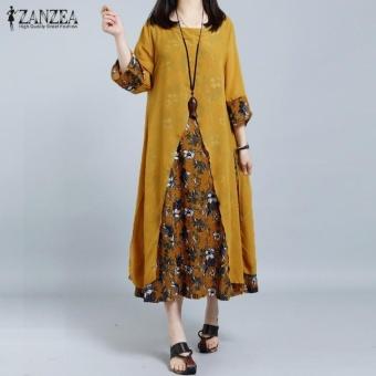 Bandingkan Toko ZANZEA Women Retro Floral Print Splice Loose Casual Long Shirt Dress Summer Ladies 3/4 Sleeve Vestido Kaftan Plus Size M-5XL (Yellow) - intl ...
