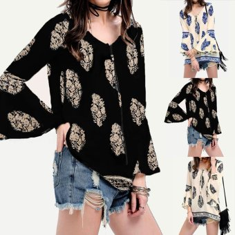 ZANZEA Womens Lace-Up V-Neck Shirt Oversized Boho Floral PrintFlare Sleeve Casual Loose Blouse Tops (Navy) - intl - 2