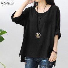 ZANZEA Womens Retro O Neck Long Sleeve Split Baggy Cotton Linen Casual Loose Solid Party Tops Kaftan Shirt Blouse Plus Size (Black) - intl