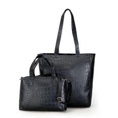 ZB Tas Wanita Women Fashion PU Tote Leather Handbags Shoulder Bags - 1 Set Dapat 2 Tas