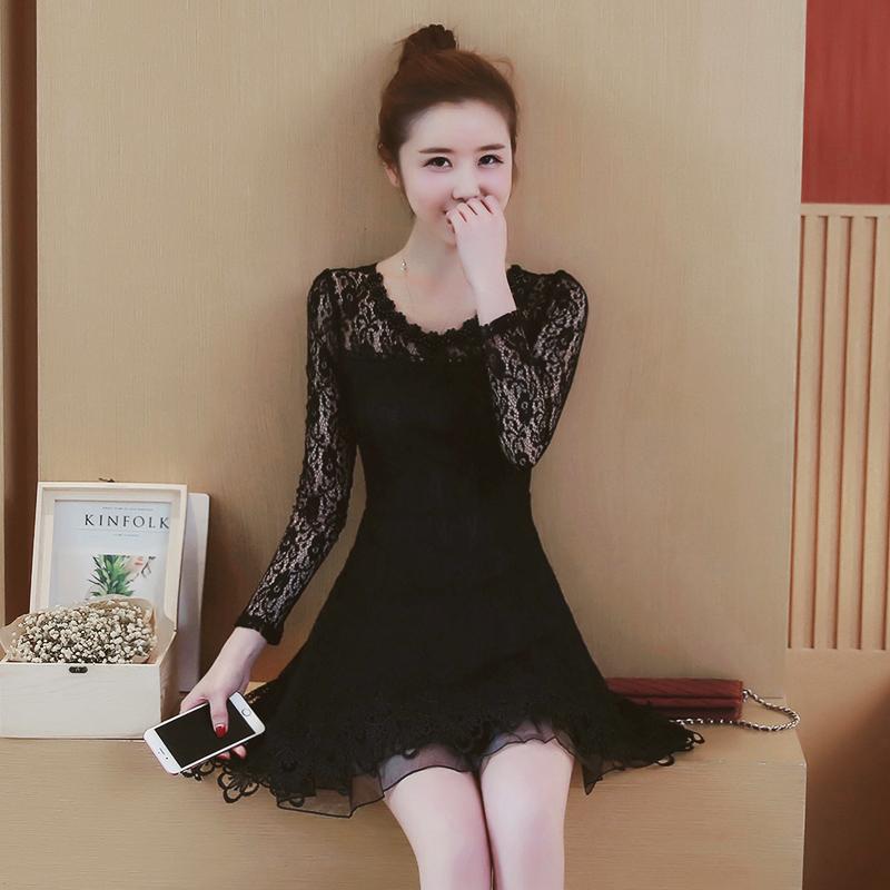 Flash Sale Zi Xia Busana Bagian Panjang Temperamen Slim Sebuah Rok Kata Korea Fashion Style Lace