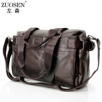 ZUO SENG Korea Fashion Style tas cowok kasual tas (Shu lilin pola (warna kopi
