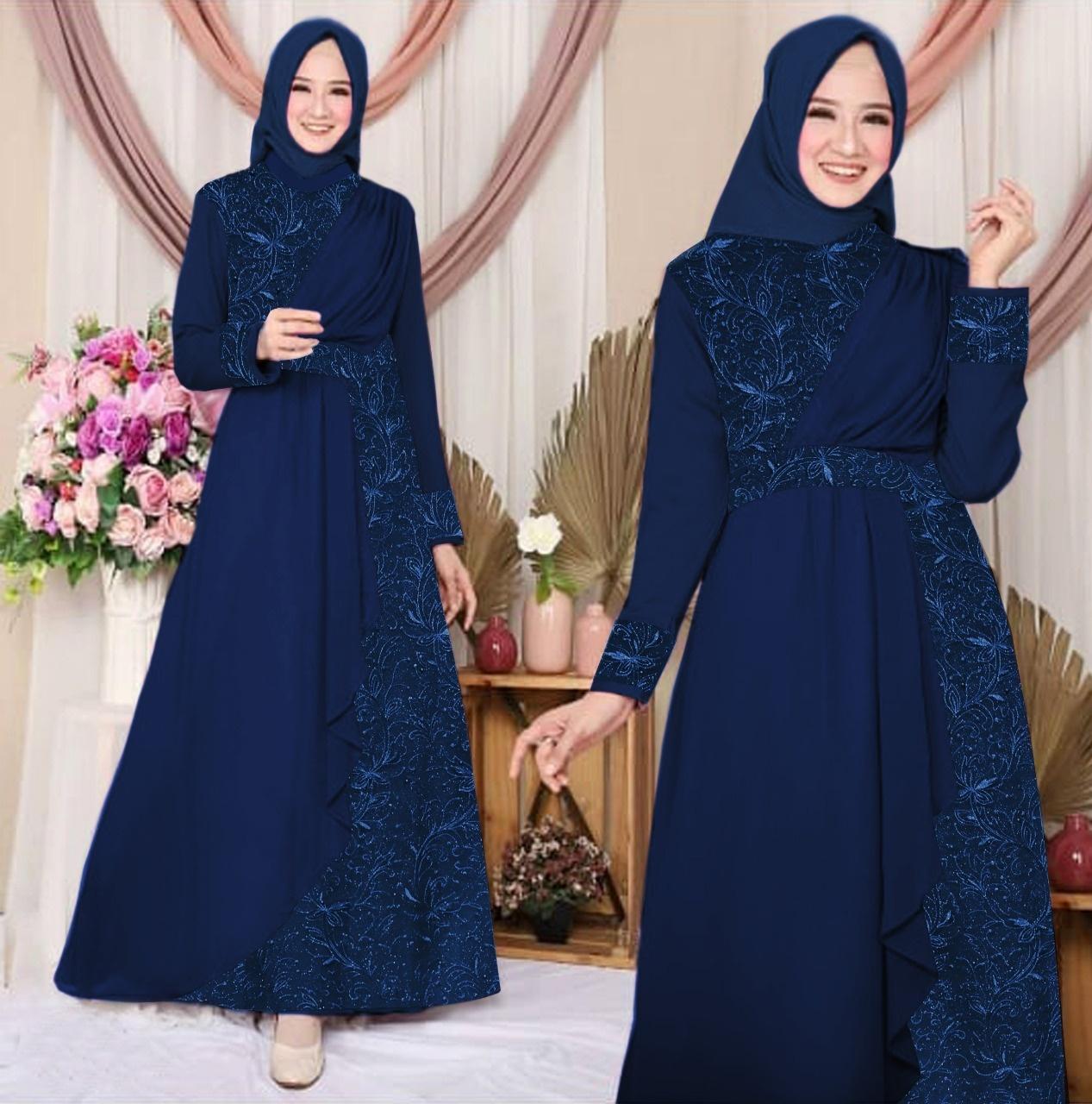 Zahira11 Zeline Wolfis Kombinasi Tile Gamis Murah Trendi Baju Syari  Muslim Wanita Ibu Terlaris Baju Pesta Terlaris