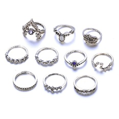 10 Pcs Bohemian Vintage Ring Set Classic Hollow Geometric Fatima Hand Jewelry Set Silver - intl