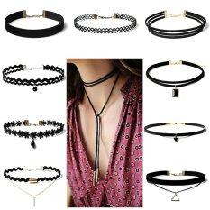 10 Pcs Fashion Wanita Wanita Wanita Renda Bunga Seksi Bohemia Leher Choker Kalung Perhiasan (Hitam)-Intl