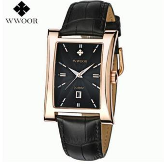 2017 New Luxury Brand WWOOR Men's Watches Quartz Watch Male Wristwatch leather Strap Waterproof watches