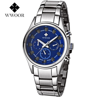 2017 New WWOOR Luxury Brand Quartz Watches Men Analog Chronograph Clock Men Sports Military Stainless Steel Fashion Wrist watch-silver Blue - intl